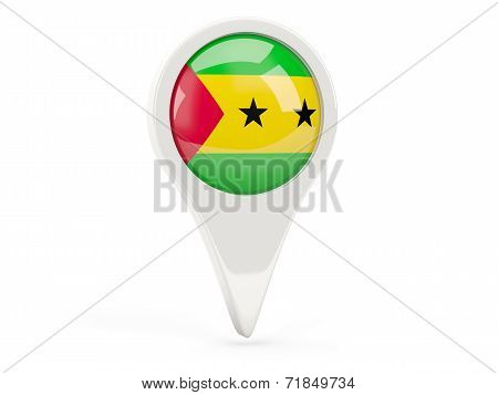 Round Flag Icon Of Sao Tome And Principe