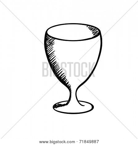 Wineglass , sketch vector illustration on white background