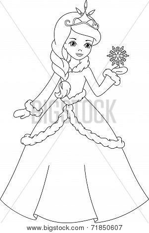 winter princess coloring page