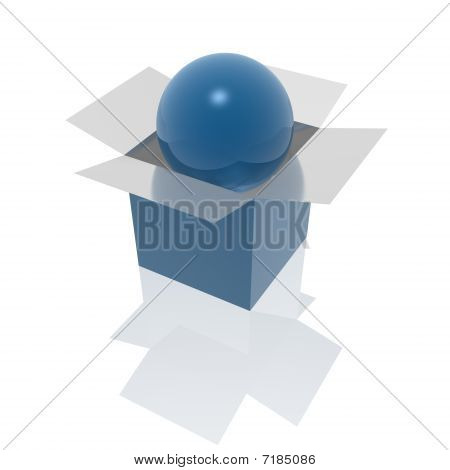 Open Box And Sphere