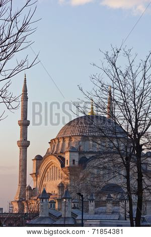 Mosque Of The Istanbul. The Style Of The Mosque Is Baroque. It Is Made Of Stone And Marble.