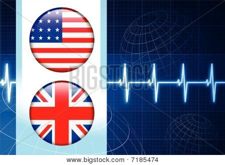 United States And British Flag Internet Buttons On Pulse Backgro