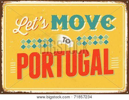 Vintage metal sign - Let's move to Portugal - JPG Version