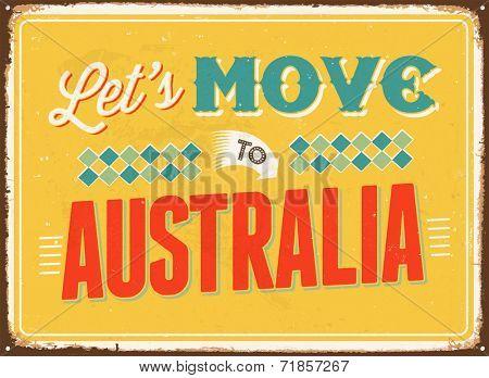 Vintage metal sign - Let's move to Australia - JPG Version