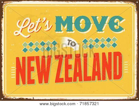 Vintage metal sign - Let's move to New Zealand- JPG Version
