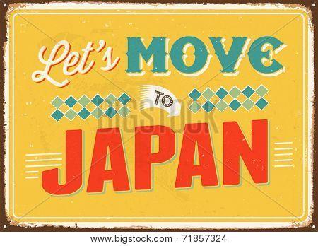 Vintage metal sign - Let's move to Japan - JPG Version
