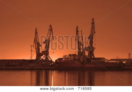 Baku port at night at sunrise