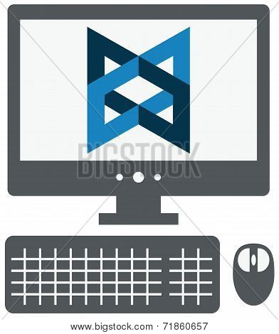 vector icon of personal computer with backbone js sign on the sc
