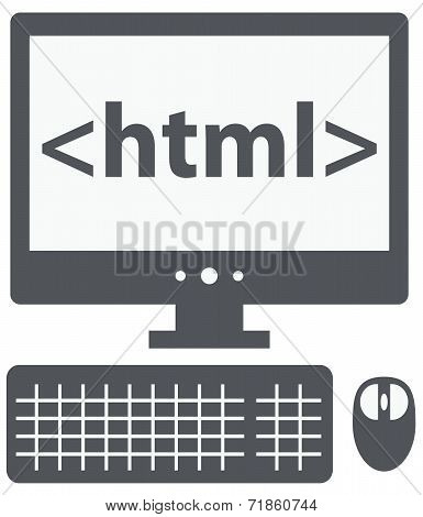 html tag on the screen of personal computer, isolated icon on wh
