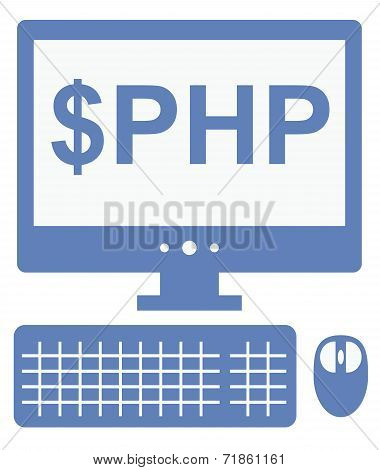 vector icon of personal computer with dollar php inscription on