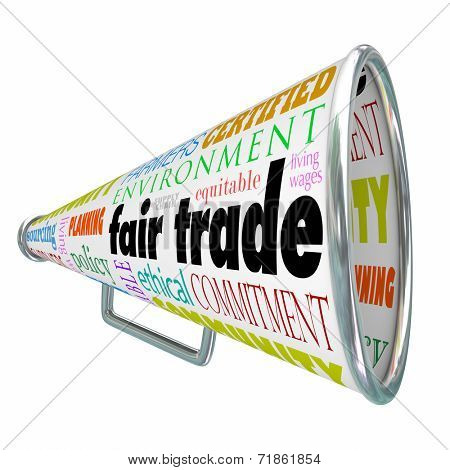 Fair Trade words on a bullhorn or megaphone spreading the word that a product has equitable living wages and is sustainable to the environment