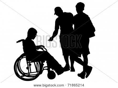 Silhouettes of people and wheelchair users