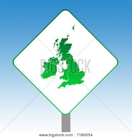 United Kingdom Map Road Sign