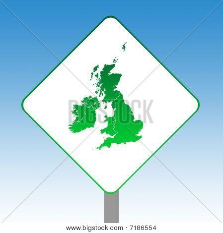 United Kingdom Map Road Sign