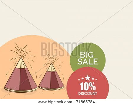 Big sale discount poster, banner or flyer design with stylish firecrackers for Hindu community festival Happy Diwali celebrations.