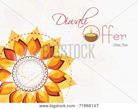 Stylish offer poster, banner or flyer design with illuminated oil lit lamp and colorful floral decorated rangoli background.