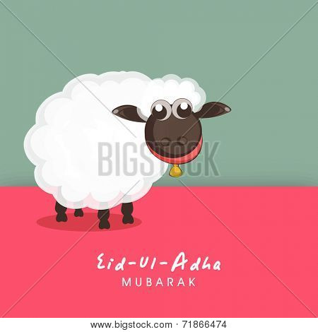 Muslim community festival of sacrifice Eid-Ul-Adha greeting card design with sheep on colorful background.