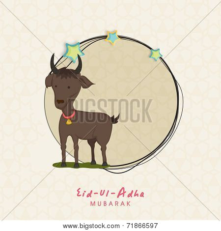 Muslim community festival of sacrifice Eid-Ul-Adha greeting card with goat.