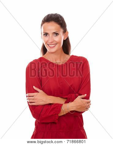 Cheerful Adult Lady With Crossed Arms