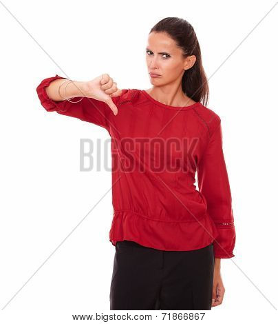 Disappointed Hispanic Woman With Bad Job Gesture