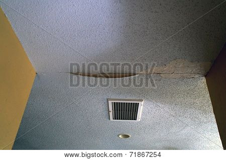 Blue Water Damaged Ceiling