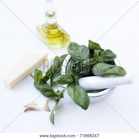 Ingredients for Pesto alla Genovese - basil, parmesan, garlic, olive oil