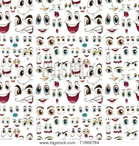 Illustraion of a seamless facial expressions