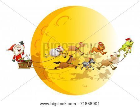 Illustraion of Santa on a sledge with many animals