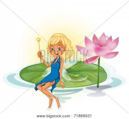 Illustraion of a fairy on a lotus leave