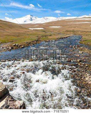 Stream flowing from  melting snow on the Pontic Mountains in Northern Turkey