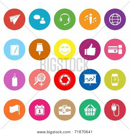 Technology Gadget Screen Flat Icons On White Background