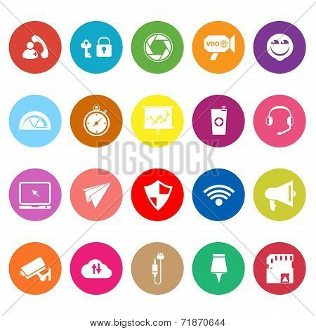 Smart Phone Screen Flat Icons On White Background