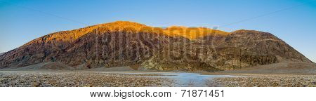 Panorama of Badwater sunset in Death Valley National Park