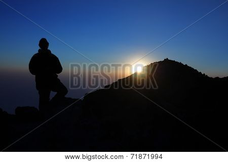 Man on summit of Tajumulco, Guatemala