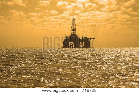 Oil Rig During Sunset