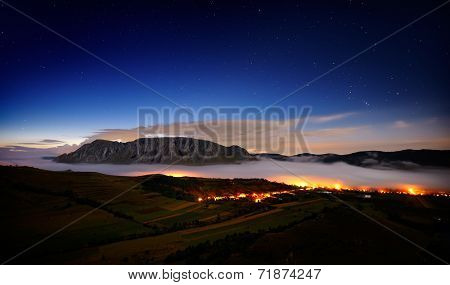 landscape with Trascau mountains before sunrise, Alba, Romania
