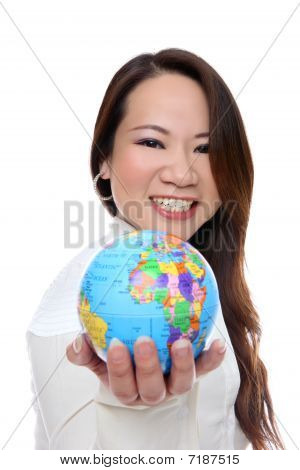 Asian Woman Holding Globe