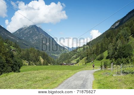 PRAZ-DE-FORT, SWITZERLAND - AUGUST 30: Ultra Trail du Mont Blanc competitors running on valley. The ultra-marathon takes on average 30 to 45 hours to complete. August 30, 2014 in Praz-de-Fort.