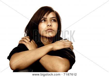 Sad worried anxious woman