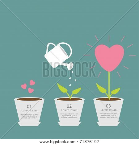 Heart seed, watering can, love plant. Growth concept. Flat design infographic.