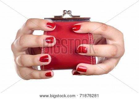 The Hands Of A Young Woman With A Coin Purse