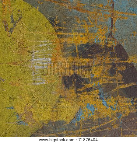 3D Abstract Circle Grunge Yellow Blue Wall Background