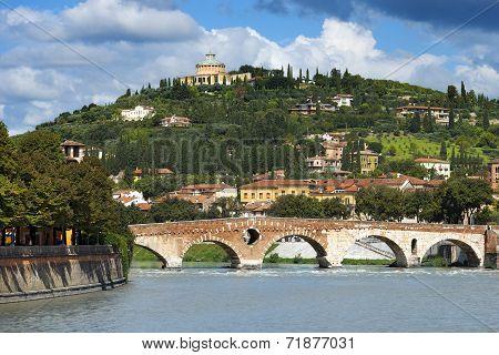 Ponte Pietra And Adige River - Verona Italy