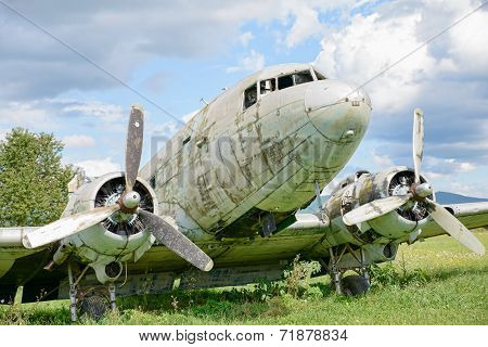 Airplane Wreck In A Field