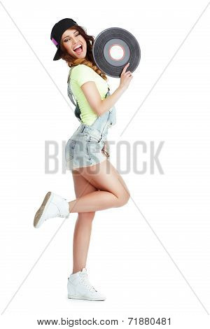 Profile Of Elated Jubilant Woman With Vinyl Record Isolated On White Background