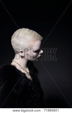 Charisma. Profile Of Blonde Fashion Model With Bob Hairdo