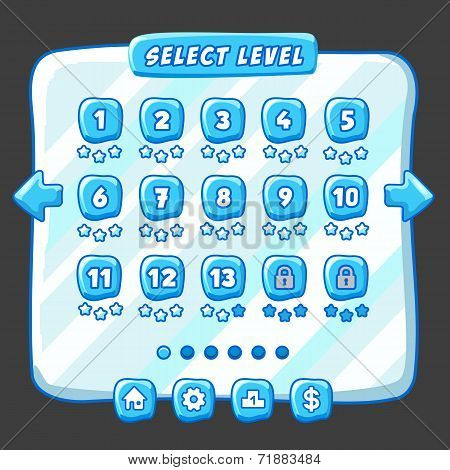 Level selection game menu ice style