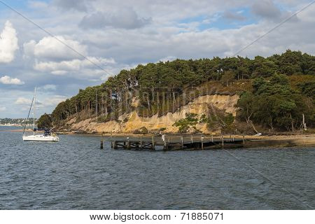 View across the harbour to the to Pottery Pier on Brownsea Island