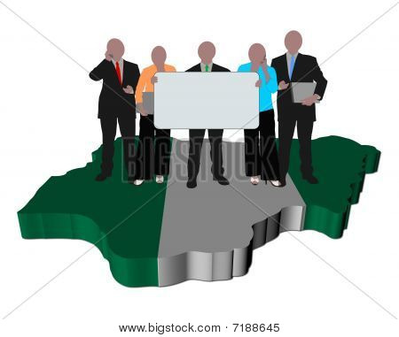 Nigerian Business Team On Map Flag