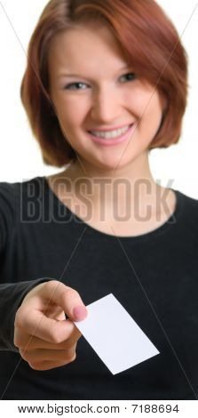 Smiling Women With A Business Card